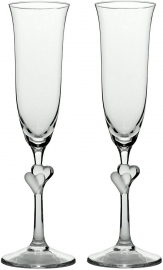 Frosted Hearts Champagne Flutes (Pair)