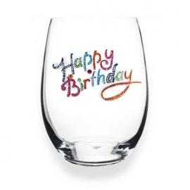 Jewelled Stemless Wine Glass - Happy Birthday
