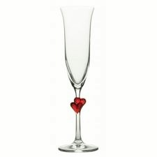 Red Hearts Champagne Flute
