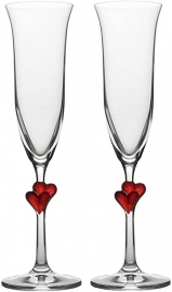 Red Hearts Champagne Flutes (Pair)