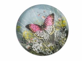 Round Glass Butterfly Plate